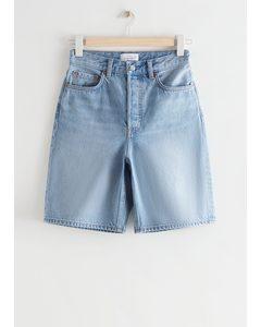 Spark Cut Denim Shorts Aqua Blue