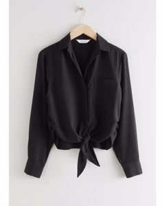 Relaxed Front Tie Top Black