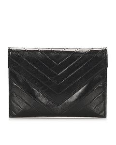 Ysl Chevron Leather Clutch Bag Black