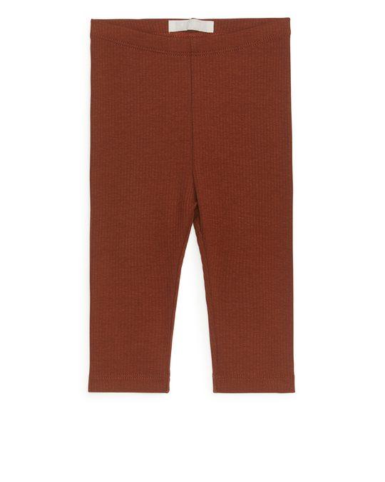 Arket Leggings aus Baumwolle und Lyocell Terrakotta