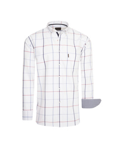 Cappuccino Italia Regular Fit Overhemd Wit Big Check Wit