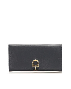 Ferragamo Gancini Leather Long Wallet Black