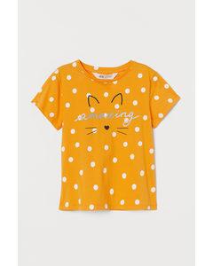 T-shirt Met Print Geel/amazing