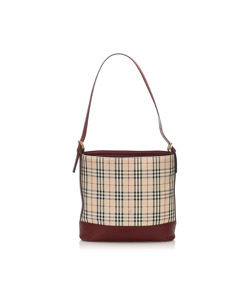 Burberry House Check Canvas Shoulder Bag Brown