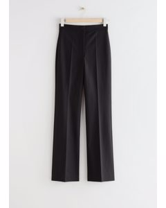 Wide High Waist Trousers Black