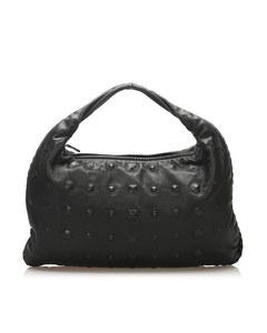 Bottega Veneta Studded Leather Hobo Bag Black
