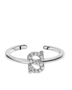 Zilveren Ring Alfabet Met Zirkonia - S