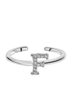 Zilveren Ring Alfabet Met Zirkonia - F