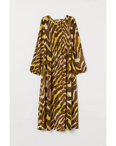 MAMA Gesmoktes Kleid Gelb/Zebramuster