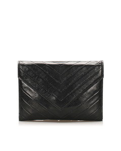Ysl Chevron Leather Clutch Bag Black