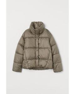 Puffer Jacket mit Stehkragen Khakigrün