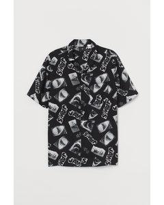 Casual Overhemd Met Dessin Zwart/jaws
