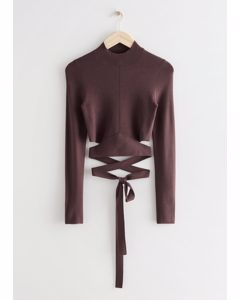Cropped Lace-up Mock Neck Top Brown