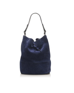 Celine Seau Drawstring Bucket Bag Blue