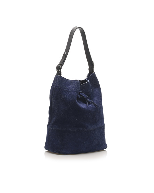 Céline Celine Seau Drawstring Bucket Bag Blue