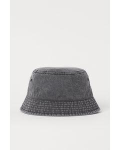 Bucket Hat im Washed Look Schwarz