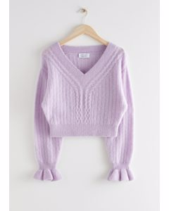 Cropped Boxy Cable Knit Sweater Lilac