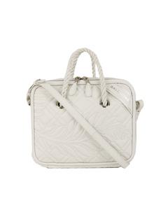 Balenciaga Blanket Square Leather Satchel White