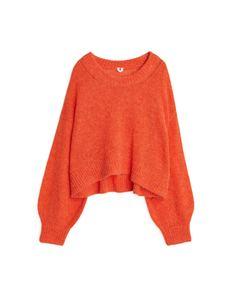 Balloon Sleeve Alpaca Jumper Orange