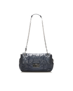 Prada Nappa Bomber Leather Shoulder Bag Blue