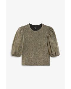 Puff Sleeve Crop Top Gold-coloured Lurex