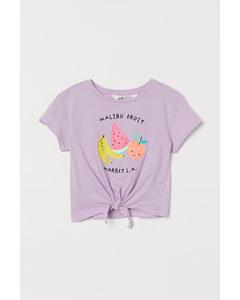 Shirt zum Binden Helllila/Früchte