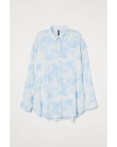 Oversized Blouse Wit/lichtblauw