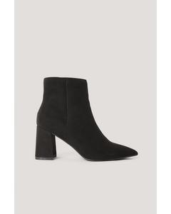 Basic Slanted Heel Faux Suede Boots  Black