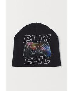 Mütze mit Linsenrasterdruck Schwarz/Play Epic