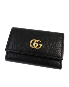 Gucci Gg Marmont Leather Key Holder Black