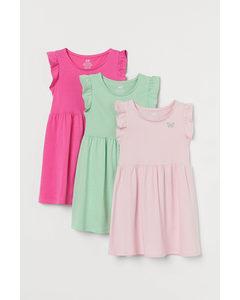 3er-Pack Jerseykleider Cerise/Mintgrün
