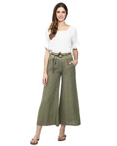 Full Length Skirt Pants Flared Linen Belt Included