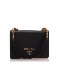 Prada Saffiano Chain Crossbody Bag Black