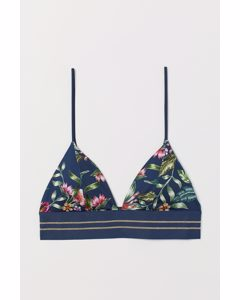 Triangelbikinitop Donkerblauw/bloemen