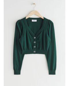 Cropped Puff Sleeve Knit Cardigan Dark Green