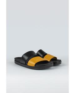 Strap W Leather Shoe Black/yellow