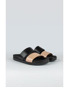 Strap W Leather Shoe Black/nude