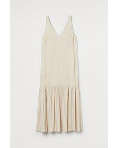 Kleid mit V-Ausschnitt Hellbeige