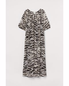 Maxi-jurk Met V-hals Beige/zebradessin
