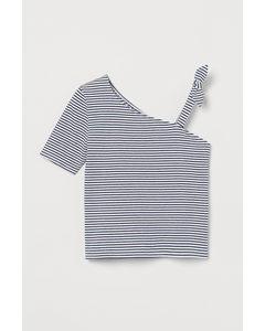One-shouldertop Wit/gestreept