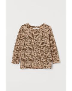 Printed Cotton Top Beige/leopard Print