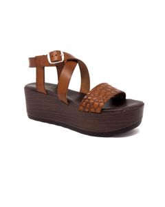 Shantel Platform Sandal In Brown Leather