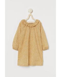 Kleid mit Volantkragen Gelb/Geblümt