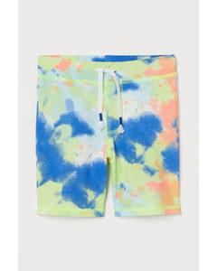 Shorts mit Batikmuster Limegrün/Batikmuster