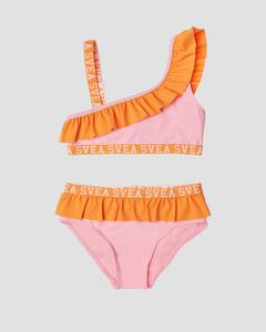 K. Frilly Off Shoulder Bikini Pink