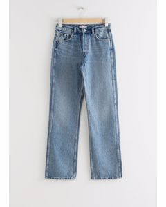 Mid-Rise-Jeans in Straight Fit Hellblau