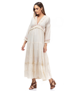 Long Dress With V-neck, Detail Of Fringes And Multicolored Strap And Lace