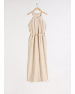Drawstring Overall Jumpsuit Beige