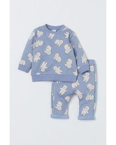 Sweatshirt und Hose Hellblau/Eisbären