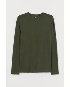 Tricot Shirt - Slim Fit Donker Kakigroen
